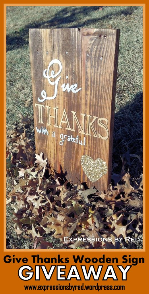GIVEAWAY! Thanksgiving Rustic Wood Sign from Expressions by Red