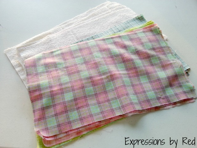 The Best and Easiest Burp Cloths EVER Tutorial - fat quarters and terry cloth cut