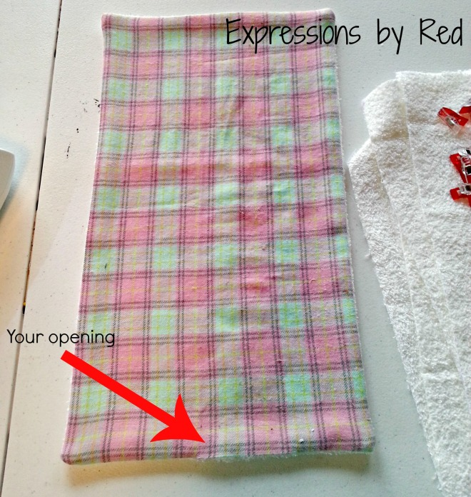 The Best and Easiest Burp Cloths EVER Tutorial - turning right side out